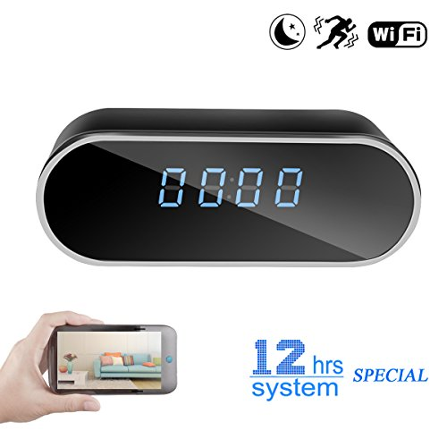 Poetele WiFi Hidden Spy Camera Clock 12 Hour System,Full HD 1080P Wireless Camera with Motion Detection,Night Vision,Realtime Video,Covert Nanny Cam for Home Security