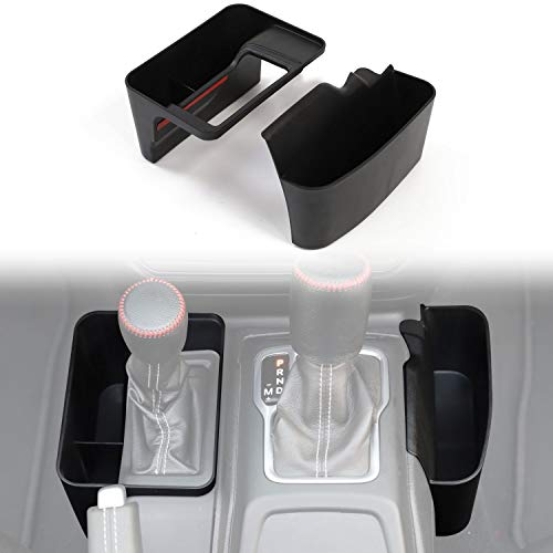 CheroCar JL Gear Storage Box Console Side Pockets Organizer Tray for Jeep Wrangler 2018-2019 JL JLU, for 2020 Jeep Gladiator JT, Interior Accessories, Black, 2Pack