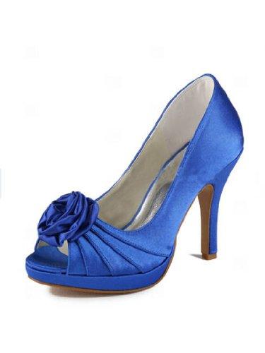 Elegantpark EP11043-PF Blue Women's Peep Toe Stiletto High Heel Platform Pump Satin Flowers Prom Shoes US 6