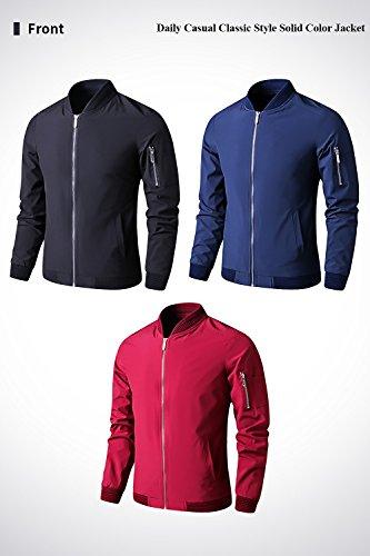 LTIFONE Mens Casual Jacket Zip up Lightweight Bomber Flight Sportswear Jacket Windbreaker Softshell with Ribbing Edge(Blue,L) by LTIFONE (Image #2)