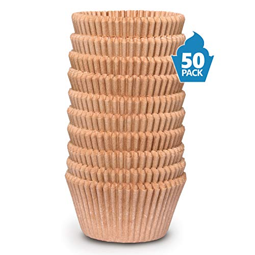 Cupcake Baking Cup Liner (Pack of 50) - Jumbo Size, Extra Thick, Unbleached Brown Disposable Cup Parchment Liner for Baking- Food Grade & No Smell - Muffin Paper Baking Cups by NextClimb]()