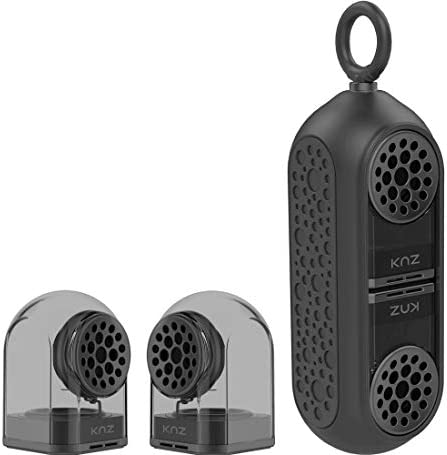 KNZ Goduo Portable Bluetooth Speakers with Magnetic Connectable Base, L R True Stereo Sound and Bass, Water and Shock Resistant, 18 Hr Playtime, Built-In Mic, Protective Carrying Case Included Smoke