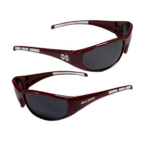 Mississippi State Bulldogs Team Glass - Purchadise NCAA 3-Dot Wrap Sunglasses-UVA and UVB Protection-Many Teams! (Mississippi State Bulldogs)