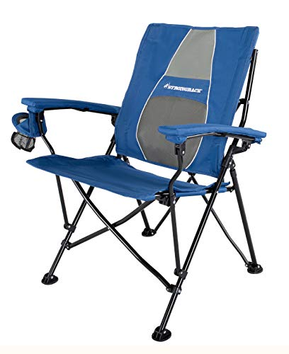 STRONGBACK Elite Folding Camping Chair with Lumbar Support, Blue (Best Beach Chairs For Bad Backs)
