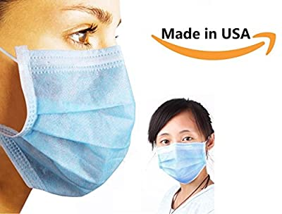 3-Ply Blue Commercial Dental Surgical Medical Disposable Earloop Face Masks Made in USA ! 50/Box