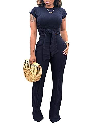 MS Mouse Women Short Sleeve Tie Front Crop Top High Waist Long Pants Rompers Set 2XL Black