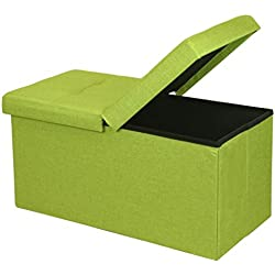 "Otto & Ben 30"" Storage Ottoman - Folding Toy Box Chest with Smart Lift Top, Upholstered Tufted Ottomans Bench Foot Rest for Bedroom, Lime Green"