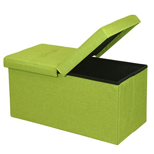 ge Ottoman with SMART LIFT Top, Upholstered Folding Foot Rest Stools Table Tufted Ottomans Bench, Lime Green (Green Home Decor Fabric)