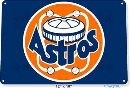 Amazon com : TIN Sign 8x12 inch Houston Astros Old Baseball