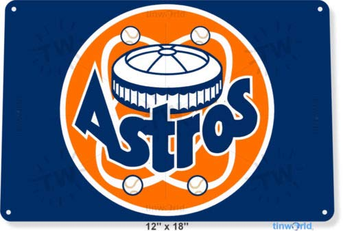 TIN Sign 8x12 inch Houston Astros Old Baseball Sports Retro Metal Decor