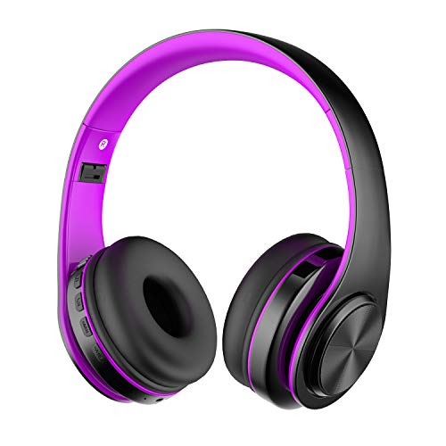 Alitoo Bluetooth Headphone Over Ear,Wireless HiFi Stereo Headset Foldable Built in Microphone Noise Cancelling for Smart TV,PC,Android,Mobile Phone,Tablets (Black&Purple)