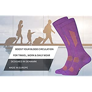 Organic Graduated Compression Socks (1 Pair Purple/Orange, US Women 8-10//US Men 6.5-8.5)