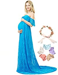 Lace Photography Maternity Dress Short Sleeve Off Shoulder Photoshoot Maxi Gown
