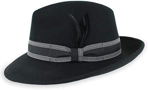Belfry Striped Trilby Men Women Crushable Wool Felt Fedora Hat