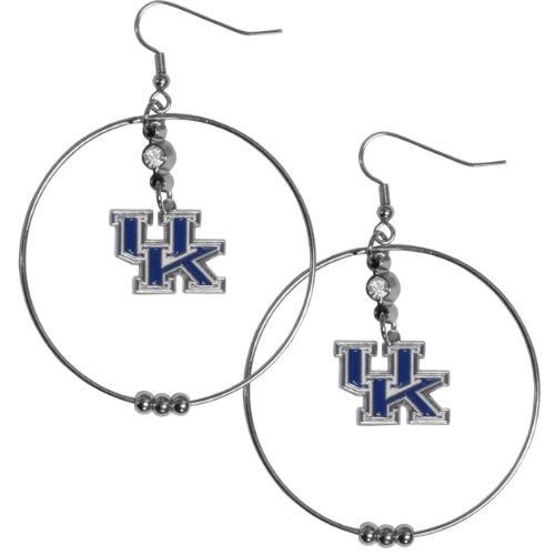 Wildcats Kentucky Crystal Earrings - NCAA Kentucky Wildcats Hoop Earrings, 2-Inch