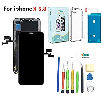 Image of Replacement Parts Screen Replacement for iPhone X (5.8 inch) -3D Soft OLED Screen Assembly - (Not LCD) Touch Digitizer Display Glass Replacement with Waterproof Adhesive,Tempered Glass,Tools,Instruction -Free Cover