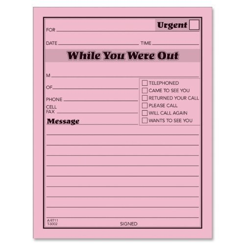 Message Pad,''While You Were Out'',4''x5'',50 Shts/PD,12/PK,PK - 2pc