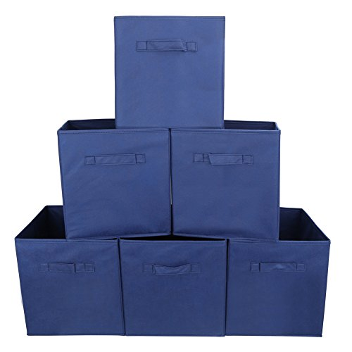 Set of 6 Foldable Fabric Basket Bin- EZOWare Collapsible Storage Cube For Nursery Home and Office - Blue