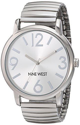 Nine West Women's NW/1665SVSB Silver-Tone Expansion Watch (Silver Watch Round)