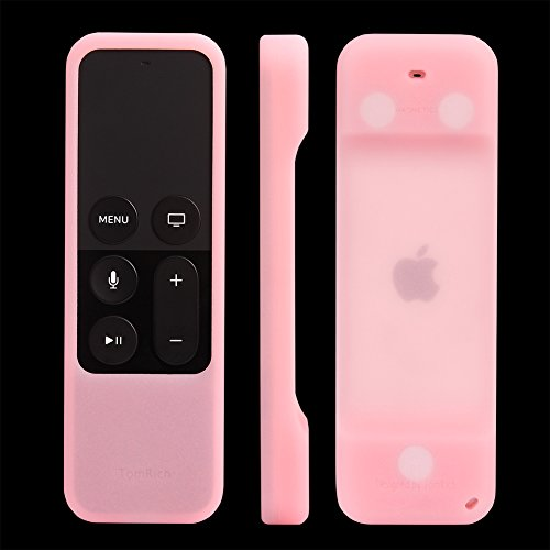 e Tv 4, TomRich T1 Heavy Shock Absorption Silicone Remote Cover Case for Apple TV 4th Generation Siri Remote Controller with Lanyard and Magnet Technology - Pink Glow in the Dark (Pink Tv)