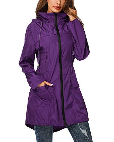ZEGOLO Rain Jacket Windbreaker Women's Lightweight Waterproof Raincoats Packable Active Hooded Trench Coats Purple Small -