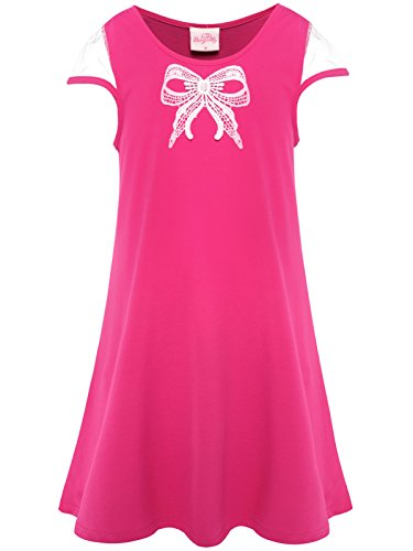 Bonny Billy Girls' Round Neck Stripe Knit Dress with Removable Sash (4-5 Years, Hot Pink) ()