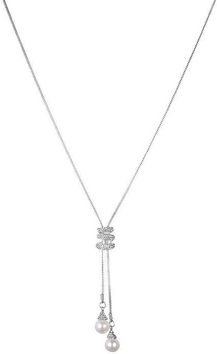 Femmes Longue Cristal Strass Fleur Collier Pendentif Pull Chaîne Bijoux S
