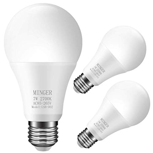 MINGER Sensor Light Bulbs Dusk to Dawn Light Bulb, 7W Smart Automatic LED Bulbs with Auto on/Off, Indoor/Outdoor Lighting Lamp for Porch, Hallway, Patio, Garage (E26/E27, Soft White,3-Pack)