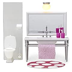 Lovely bathroom furniture with a washbasin and mirror. Two toothbrush mugs and a lamp are included. This set also includes a toilet, bathroom mat and towel. Lundby electrical accessories may only be used together with a Lundby power supply in...