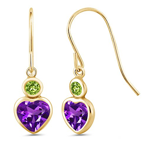 Gem Stone King 1.04 Ct Heart Shape Purple Amethyst Green Peridot 14K Yellow Gold Earrings