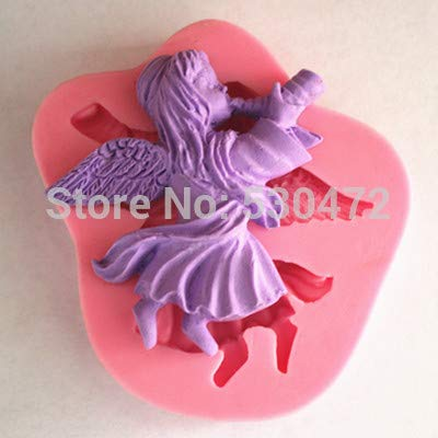 Chocolate Mold - 1 Pcs Angel Blowing Horn Silicone Fondant Cake Mold Chocolate Fm - Flower Piece Duck Mold Shape Ring Elephant Game Chocolate Cactus Diamond Lizard Cute Rowing Carrots Puri