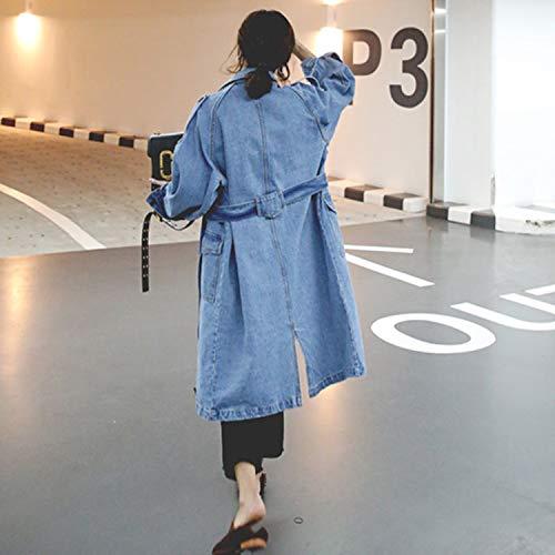 Vita Del E Casuale Cappotto Di Donne Donna Della Blue Denim La Più Regolabile Delle Cappotti Giacche Autunno Femminile Allentato Molla 8znRRxT