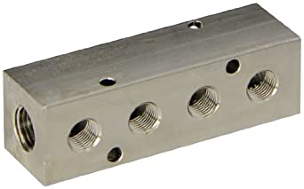 "Polyconn PCM10-125-04NP Nickel Plated Aluminum Manifold, 1/4"" NPT Female x 1/8"" NPT Female, 4 Stations"