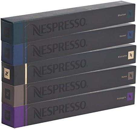 NESPRESSO Capsule Originali Caffe Assortimento, 50 Capsule – 10x Roma 10x Ristretto 10x Kazaar 10x Arpeggio 10x Dharkan – compatibili originali