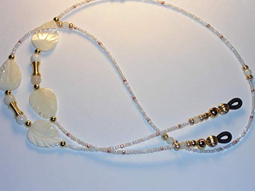 Hand Beaded Eyeglass Chain Holder Necklace White Mother of Pearl Leaf Design 28 inches
