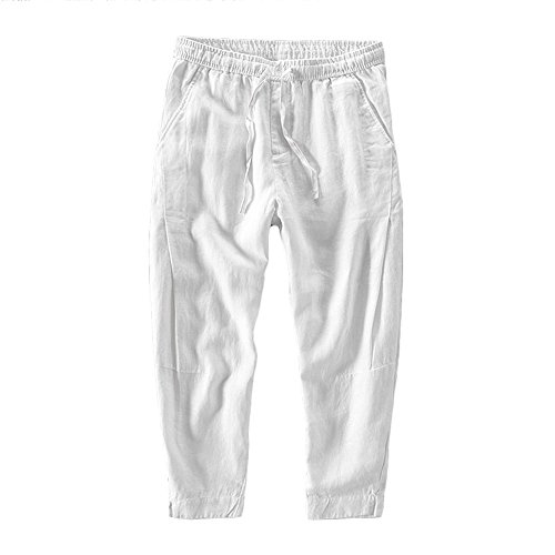 Helisopus Mens Loose Ninth Casual Pants Harem Basic Solid Cotton Linen Classic Cropped Mid Waist Pants with Drawstring