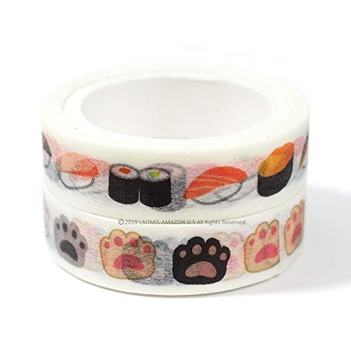 Japanese Washi Paper Perforated Tape/Set of 2 (Cat's Paw Shaped [ TM00944 ] + Sushi [ TM00948 ])