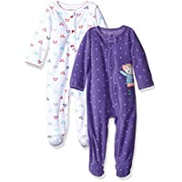 Carter's Girls' 2-Pack Microfleece Sleep and Play, Monkey/Bow, 3 Months