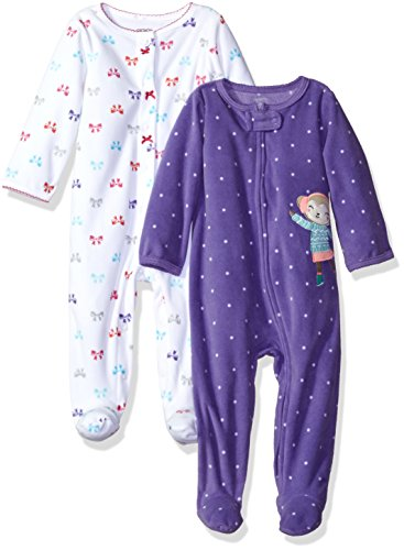 Carter's Girls' 2-Pack Microfleece Sleep and Play, Monkey/Bow, 6 - Infant Fleece Sleepers