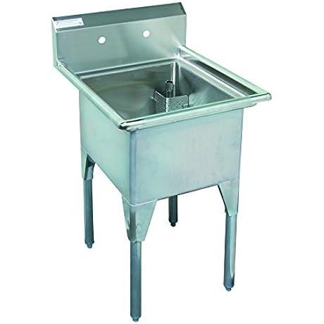 Tarrison CDS118 Heavy Duty 18 Gauge Stainless Steel Single Compartment Corner Drain Sink 23 1 2 Length X 36 47 Height X 27 1 4 Depth