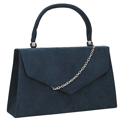 SwankySwans - Kendall Suede Envelope Party Prom Clutch Bag, Sacchetto Donna Navy blue