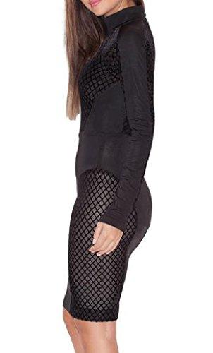 Long Bodycon Mini As1 Hollow Out Clubwear Dress Sleeve Comfy Women's TqZw1Tg