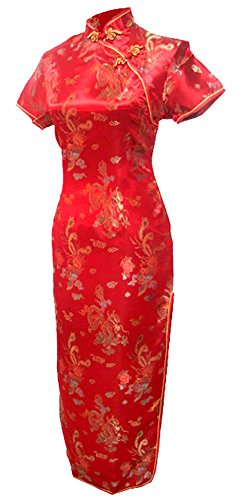 7Fairy Women's Vtg Red Long Chinese Wedding Evening Dress Cheongsam Size 10 US