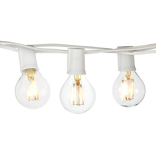 [Brightech Ambience PRO LED Indoor / Outdoor Commercial Grade Globe Light Strand with G40 Natural Warm White LED Bulbs - 1 Watt LED Bulbs Included, 26 Foot Strand - Orchid White] (Strand Lighting Light)