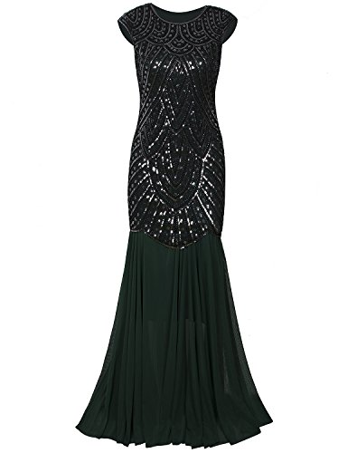nspired Cap Sleeve Beaded Sequin Gatsby Long Evening Prom Dress (Beaded Stretch Prom Dress)