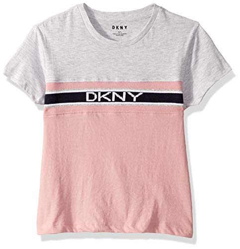 DKNY Girls' Big Short Sleeve T-Shirt (More Styles Available), Varsity Zephyr, 8/10 (Dkny Short Sleeve Tee T-shirt)