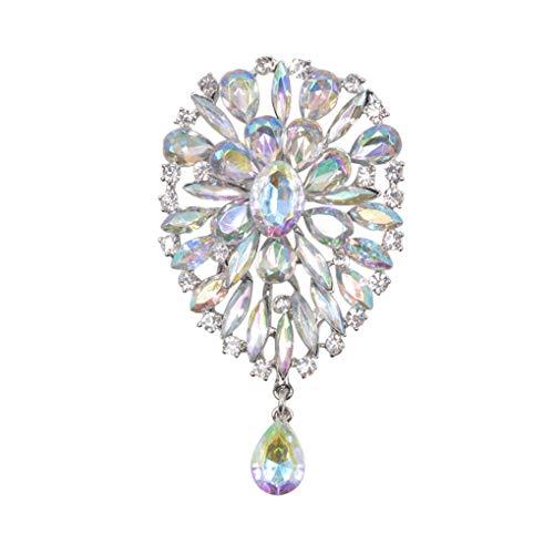 Big Crystal Water Drop Brooches For Women Dress Coat Brooch Pins Fashion Scarf Buckle Luxury AB -