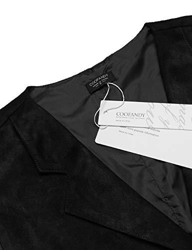 053ed8fad9b7 COOFANDY Mens Suede Leather Vest Layered Style Dress Vest Waistcoat Suits &  Sport Coats