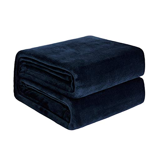 NEWSHONE Flannel Fleece Luxury Blanket - Lightweight Cozy Plush Throw Blanket Twin,Queen,King Size(50inX60in, Navy Blue) (Blue Fleece Blanket)