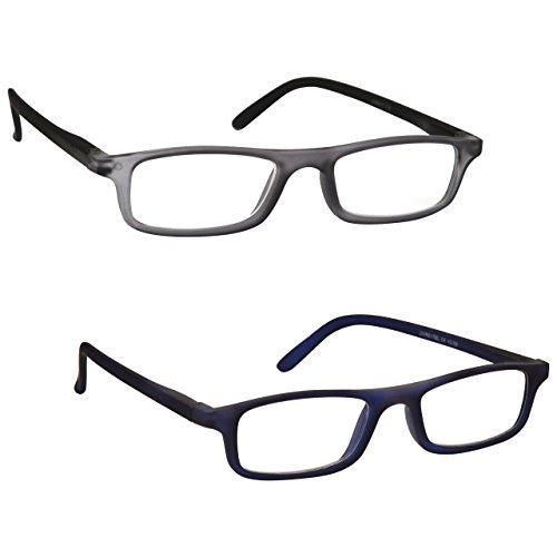 The Reading Glasses Company Rubberized Grey Black Navy Blue Lightweight Readers Value 2 Pack Mens Womens RR17-73 - Mens Spectacles Designer